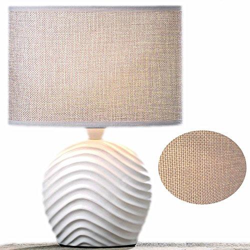 LS-LebenStil Design Tischleuchte Tischlampe Büroleuchte Schreibtischlampe Keramik Welle Sylt Weiss Beige 28cm hoch