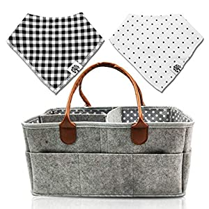 Baby Diaper Caddy | Nursery Diaper Tote Bag | Baby Shower Gift Basket | Large Portable Car Travel Organizer | Boy Girl Diaper Storage Big for Changing Table | Newborn Registry Must Haves