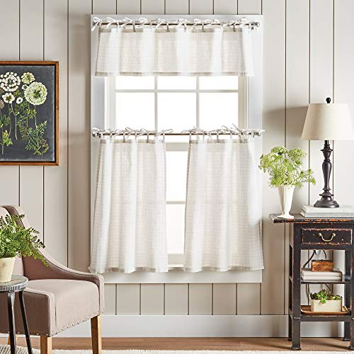 "MARTHA STEWART Plaid Tie Top 3-Piece Window Curtain Valance and Tiers Set, 36"", White/Linen"