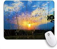 KAPANOUマウスパッド 日没の田舎の自然風光明媚な長い茎雑草ファンタジースカイオープン田舎の下 ゲーミング オフィ良い 滑り止めゴム底 ゲーミングなど適用 マウス 用ノートブックコンピュータマウスマット