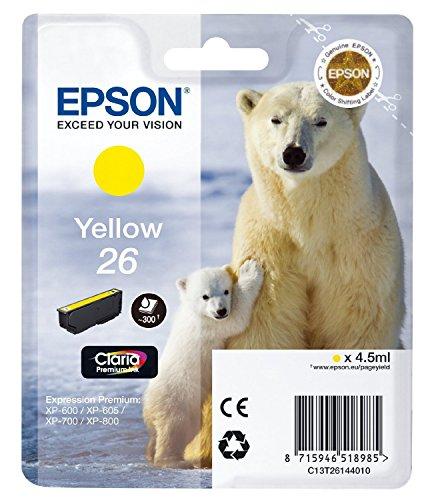 1x Original Tintenpatrone für Epson Expression Premium XP-720 XP 720 XP720 C13T26144010 26 T2614 - Yellow -