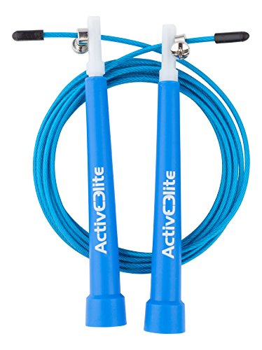 ActiveElite ✮ Profi Springseil für Sport & Fitness ✮ Ideal für: Boxen, Crossfit, MMA, WOD ✮ Speed Rope ✮ Bonus: Transporttasche + Ersatzseil & weiteres Zubehör (Blau)