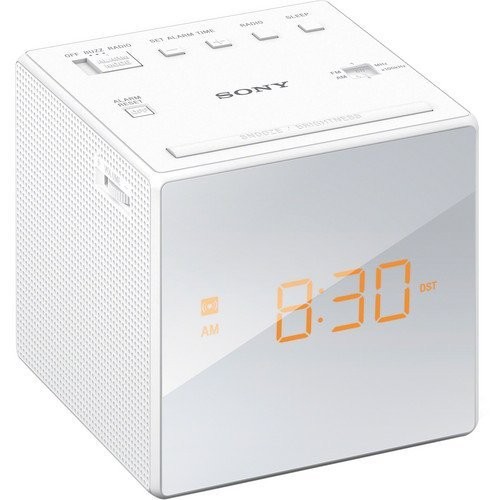 Sony Compact AM/FM Alarm Clock Radio with Large Easy to Read Backlit LCD Display