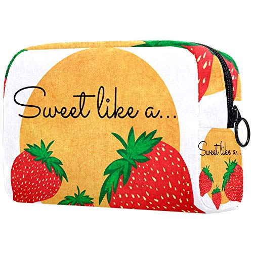 Erdbeer-Make-up-Tasche, Kulturbeutel für Frauen, Hautpflege, Kosmetik, Handtasche mit Reißverschluss