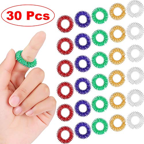 30 Stück Massage Ring Stachelig Sensorische Fingerringe, Stachelig Finger Ring/Akupressur Ring Set für Jugendliche, Erwachsene, Leise Stress Reduzierer und Massager (Mehrfarbig)