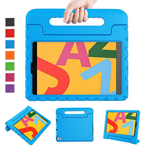 """LTROP New iPad 10.2 Case, iPad 7th Generation Case for Kids, iPad 10.2 2019 Kids Case Shockproof Light Weight Handle Stand Case for iPad 7th Gen 10.2"""" and Air 3 - Blue"""