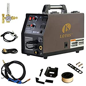 140 Amp MIG Wire Welder, Flux Core & Aluminum Gas Shielded Welding with 2T/4T Switch Argon Regulator, Metal Wire Feeder by Lotos Technology