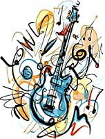 DIYデジタルキャンバス油絵大人キッズペイントナンバーキットブラシとアクリル絵の具-ギター-16X 20インチ(フレームなし)