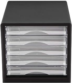 KANJJ-YU Stockage Tiroirs Classeur 5 tiroirs noir transparent en plastique PP Organisateur de stockage Box Office Cabinet ...