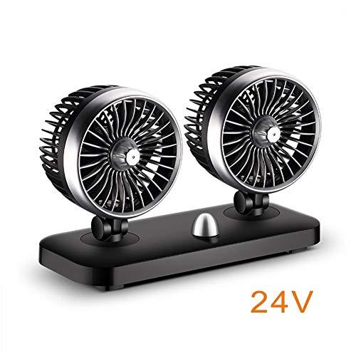 SinceY Auto-ventilator, dubbelventilator, verticaal en horizontaal instelbare ventilator, 20 W, 12 V/24 V 24 V.