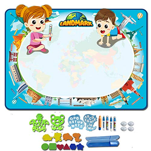 FQMAO Water Doodle Mat, Aqua Magic Mat Toddlers Drawing Mat Kids Painting Writing Board Educational Toys for Boys Girls Age 3-10 Years Old Best Travel Toy