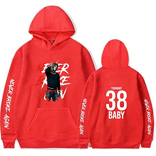 WAWNI YoungBoy Never Broke Again Hip Hop Hoodies Fans Sweatshirts Printed Casual Clothes (XL,Red4)