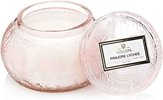 Voluspa Japonica Embossed Glass Chawan Bowl Candle, Panjore Lychee, 14 Ounce