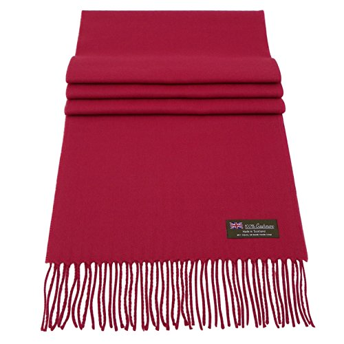 Rosemarie Collections 100% Cashmere Winter Scarf Made In Scotland (Berry Red)