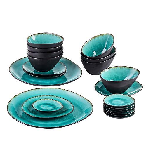 Vancasso Servierplatten, 22 teilig Aqua Servierteller aus Steinzeug, Reisslack Effekt Servier Teller mit Schalen, Kombiservice Servier Set,Blau