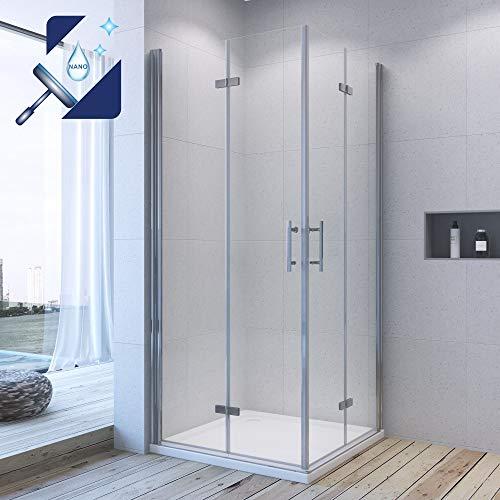 AQUABATOS® 90x90 x 195 cm Duschkabine Eckeinstieg Dusche falttür Duschwand Duschabtrennung klappbar Pendeltür Duschtrennwand aus 6mm ESG Glas mit Nano Beschichtung