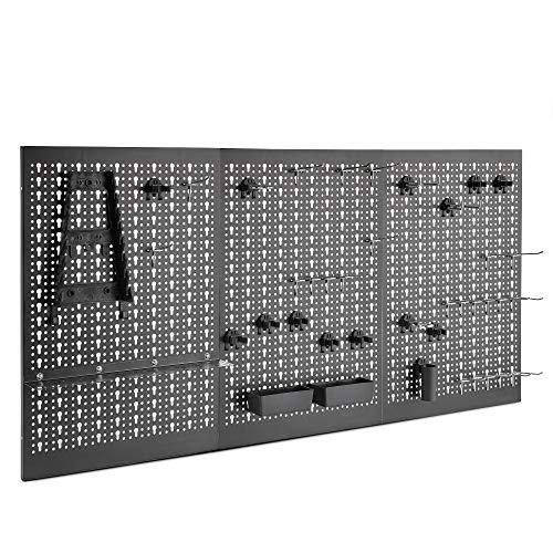 VonHaus Werkzeuglochwand aus Metall mit 45-tlg Zubehör-Set – Zum Aufhängen von Handwerkzeugen – Sicherer Halt für Hämmer, Schraubenzieher, Schraubenschlüssel, Maulschlüssel – Platzsparend