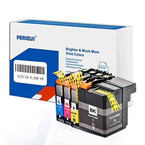 PERSEUS Cartucho de Tinta Reemplazo para Brother LC129XL LC125XL (Negro, Cian, Magenta, Amarillo) Compatible con MFC-J6520DW, MFC-J6720DW, MFC-J6920DW Impresora, LC129 LC125 XL BK/C/M/Y