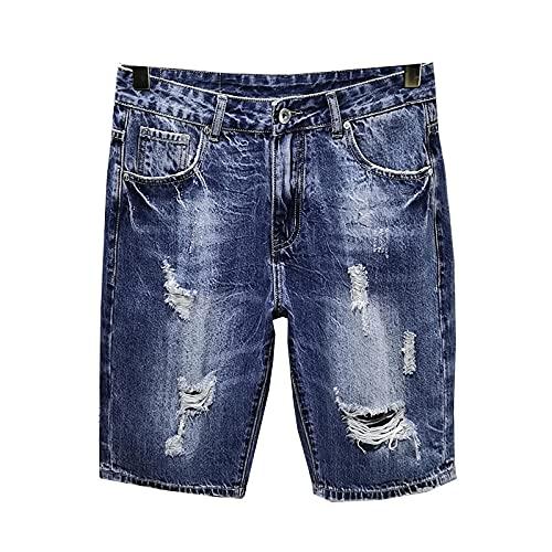 HSDFKD Pantalones Cortos para Hombre Pantalones Cortos De Mezclilla De Corte Recto Hip Hop Azul Oscuro Ahuecado, Oscuro, Azul, 29