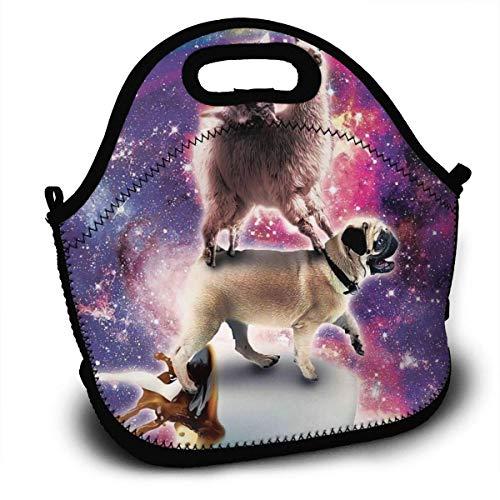 N / A Lunch Bag Tote Lunch Box para Mujeres Hombres Niños Organizador de almuerzos Enfriador Aislado con Correa para el Hombro para el Trabajo Escolar Picnic Gym Llama Space Cat Pug Riding Coffee