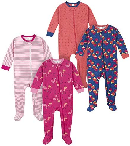 Gerber Baby Girls 4 Pack Footed Pajamas Pink Berries 18 Months product image