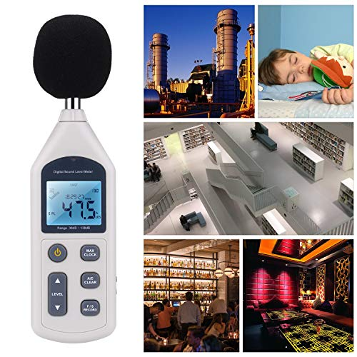 Sonomètre / Décibelmètre Numérique Portable 30 ~ 130 dB Décibel Testeur de Mesure de Bruit Decibel Data Logger avec Lanalyse de Données USB Temps DB Moniteur pour lndustrie et la Vie Quotidienne