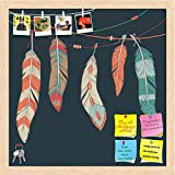 ArtzFolio Ethnic Decorative Feathers Hanging On Threads Printed Bulletin Board Notice Pin Board