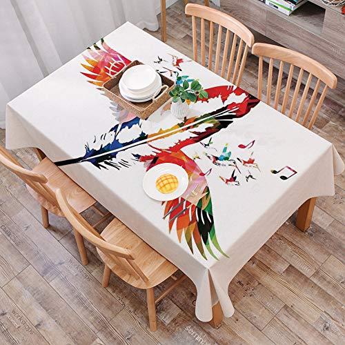 Mantel Antimanchas Rectangular Impermeable,Decoracion de plumas, pluma imaginaria hecha de un pajaro con armonia mus,Manteles Mesa Decorativo para Hogar Comedor del Cocina,(140 x 200 cm/55*78 pulgada)