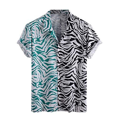 Yowablo Chemises Hommes Imprimé Léopard Col Rabattu Manches Courtes Décontracté (XL,12Gris)
