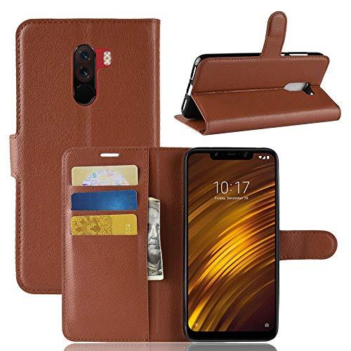 Guran PU Ledertasche Hülle für Xiaomi Pocophone F1 Smartphone Flip Cover Kartenfach Wallet & Stent-Funktions Handyhülle Business Style Etui - Braun