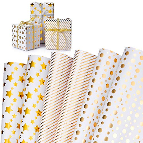 Geschenkpapier,WolinTek 6 Bogen Golddruck Geschenkpapier Geburtstag, Geschenkpapier Weihnachten, Geschenkverpackung Papier für Geburtstag, Kindertag,Valentinstag(70 cm x 50 cm)
