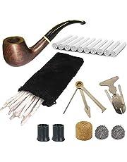 CESFONJER Houten tabakspijp, 8-in-1 tabakspijp, handgemaakte klassieke pijp van fijn hout, voor beginners en gevorderden