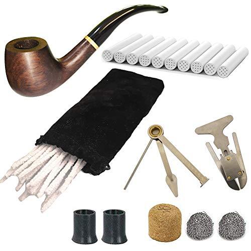 CESFONJER Pipa de Fumar de Material de palo de rosa negro, Pipas de Tabaco de Sándalo con Limpiadores de Pipa, Filtros de Pipa de 9 mm, Espátula de Pipa 3 en 1, Con Bolsillo de Pipa