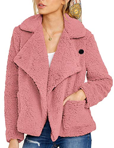 ROYLAMP Women's Teddy Jacket Lapel Casual Loose Open Front Fuzzy Outerwear Coat with Pockets Pink S