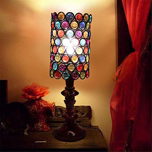 Lámpara De Mesa De Estilo Europeo Lámpara De Mesa De Acrílico Color Tiffany Estilo Lámpara De Decoración con Interruptor De Botón para El Dormitorio Sala De Estudio