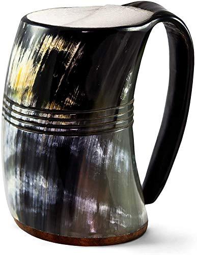 Tasse de corne à boire Viking authentique commerçant nordique - chope de corne de bière 100% authentique avec fond en bois dur et gravures danneau  LÉternel, Poli, XX-Large
