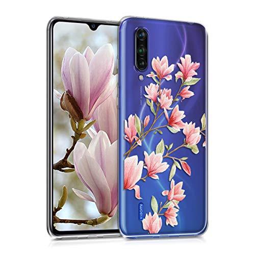 kwmobile Funda Compatible con Xiaomi Mi 9 Lite - Carcasa de TPU y Magnolias en Rosa Claro/Blanco/Transparente