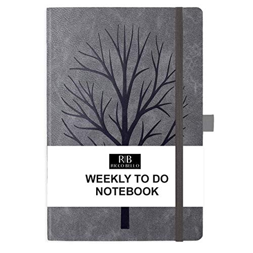 RICCO BELLO Hardcover Undated Weekly to Do Calendar Checklist Notebook, Fountain Pen Friendly, Vegan Leather, Pen Loop, Ribbon Bookmark, Storage Pocket, Thick Paper (Tree)