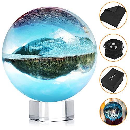 Dusor GlaskugelFotografie,80mm/3.14inch K9GlasLensball, KlareKristallkugel, Fotokugel mitStänder undBoxArtDécor, Crystal Ball FotografieDekoration Geschenk für Freund