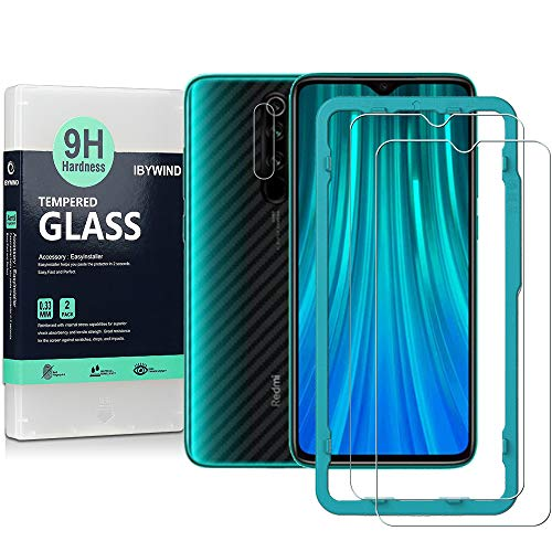 Ibywind Screen Protector for Redmi Note 8 Pro,[Pack of 2] with Camera Lens Protector,Back Carbon Fiber Skin Protector,Including Easy Install Kit