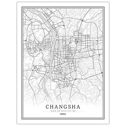 Impression Sur Toile,Mapa De La Ciudad De Changsha Mapa De Póster En Blanco Y Negro De Estilo Nórdico Impreso En Póster Impresiones Artísticas Minimalistas Foto Decoración Del Hogar Para Paredes