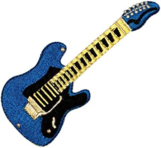 Blue Electric Guitar Patch Rock Music Instrument Embroidered Iron On Applique