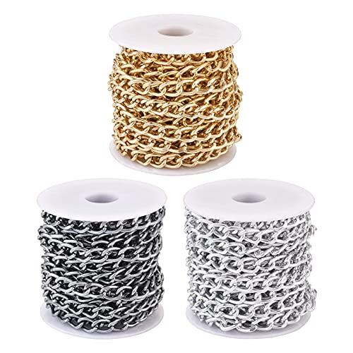 Cheriswelry Cadenas de eslabones de aluminio, 3 rollos de 5 m x 5 m, sin soldar, con carrete para hacer collares de joyas (oro/plata/plomizo)