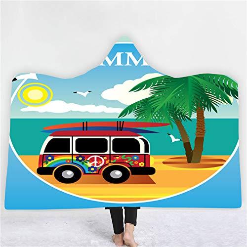 QPY Manta con capucha para autobús de surf, doble felpa, con capucha, impresión con capucha, manta creativa, albornoz de 4 a 200 x 150 cm