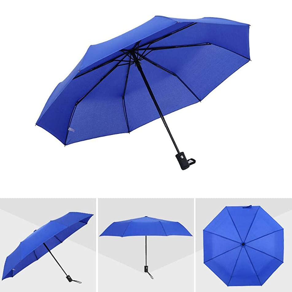 Sttech1 Travel Light Umbrella, Mini Portable Compact Automatic with Button Three-Fold Umbrella Eight-Bone Umbrella Self-Opening Folding Umbrella (Blue)