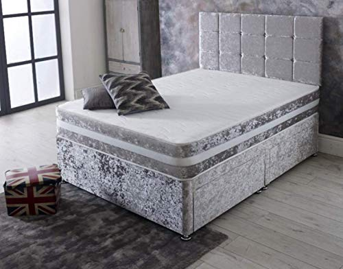 MEMORY FOAM DIVAN BED SET WITH MATTRESS AND HEADBOARD 3FT 4FT6 Double 5FT King (Silver, 6ft superking size)