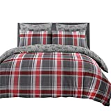 Nimsay Home Harris - Juego de funda nórdica y funda de almohada (franela, 100% algodón cepillado), Gris, Super King Duvet Set