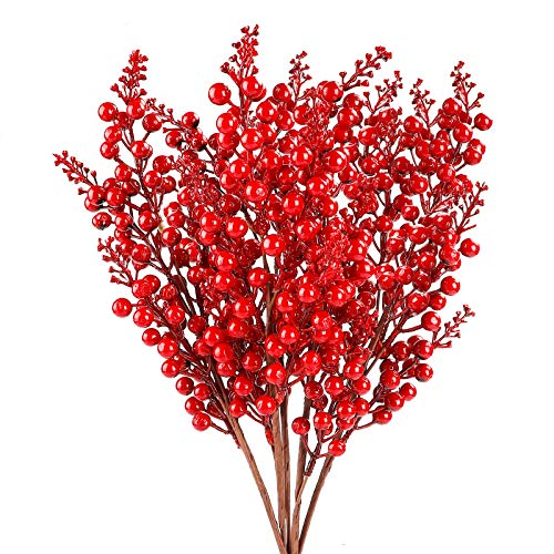 FUNARTY 5pcs Artificial Red Berry Faux Christmas Berry Stems for Winter Holiday Christmas Décor