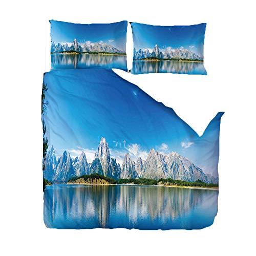 RGBVVM Copripiumino 220 x 240 cm Montagna della Neve del Cielo Blu - Microfibra Bedding Set Copripiumino con Cerniera e 2 Federe 50x75 cm