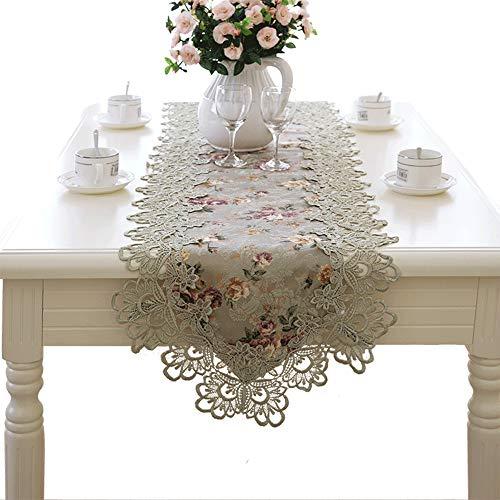 ALXLX Europese klassieke tafelloper witte tafel doily tafelkleed borduurwerk tafelloper met kwastjes duurzame wasbare tafeldecoraties voor dressoir